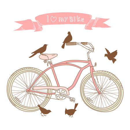 I heart my bike! A hand drawn bicycle and birds 向量圖像