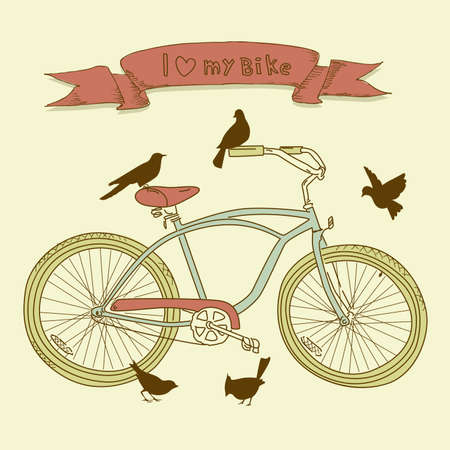 I heart my bike! A hand drawn bicycle and birds Vectores