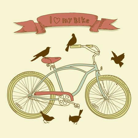 I coraz�n mi bici! Una bicicleta dibujada a mano y aves