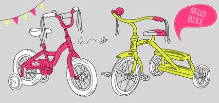 circus bike: Ni�os bicicletas, una bicicleta ni�as y un triciclo Vectores