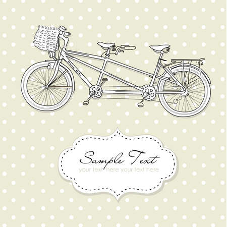 Tandem Bicycle Wedding Invitation with polka dot background  Vector