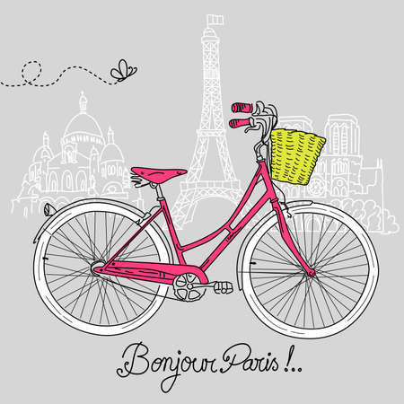 Riding a bike in style, Romantic postcard from Paris