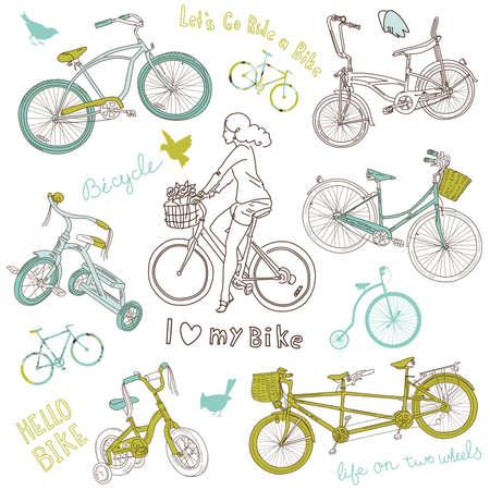 circus bike: Juego Vintage bicicleta y una hermosa muchacha que monta una bicicleta
