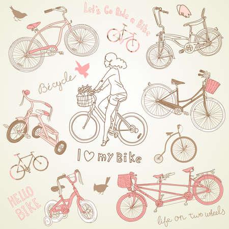 Juego Vintage bicicleta y una hermosa muchacha que monta una bicicleta Foto de archivo - 15158632