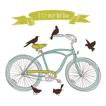 fiets: I heart mijn fiets! Een hand getrokken fiets en vogels