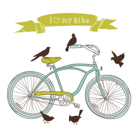 bicycle: I heart my bike! A hand drawn bicycle and birds