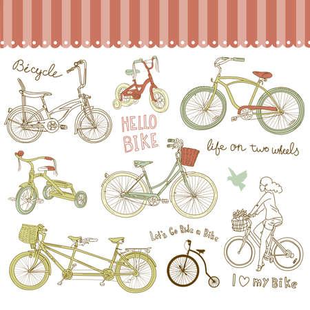 bicyclette: Ensemble de bicyclette de cru et une belle fille faire du v�lo Illustration