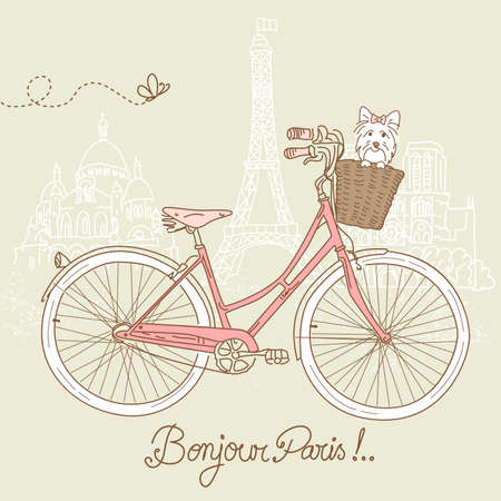Riding a bike in style, Romantic postcard from Paris Vector