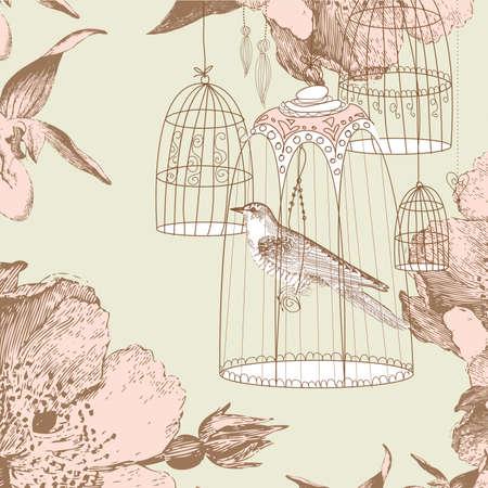 檻の中の鳥とビンテージのカード
