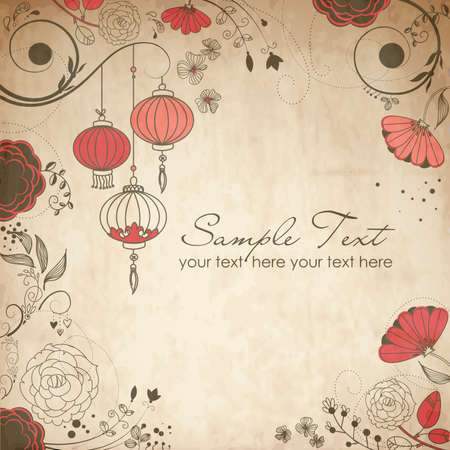 Chinese lanterns. Stylish floral background  Vector