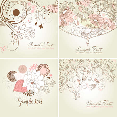Set of floral greeting cards in pink shades Vector