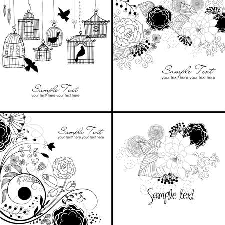 postcard background: Stylish floral background  Illustration