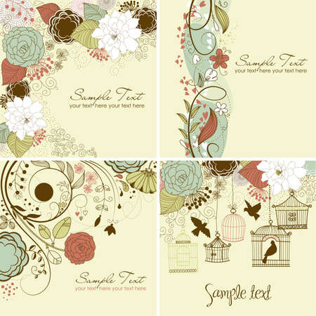 Set of floral greeting cards in retro style Vector