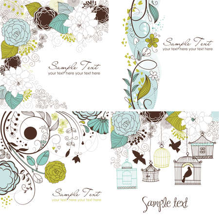 greeting: Set of floral greeting cards in retro style