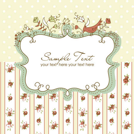 polka dot background: Vector floral frame with a bird