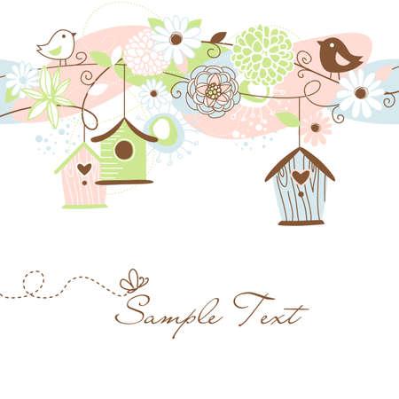 maison oiseau: Beau fond floral avec des maisons d'oiseaux, d'oiseaux et de fleurs Illustration