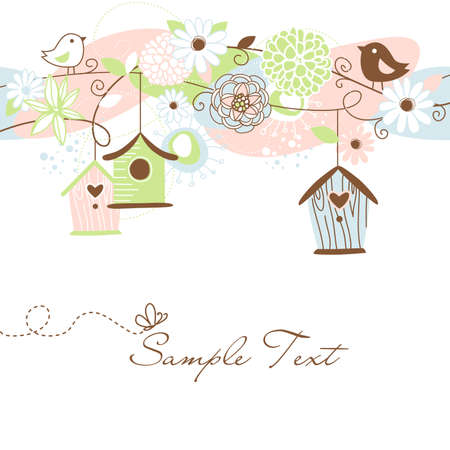 Beautiful Floral background with bird houses, birds and flowers Vector