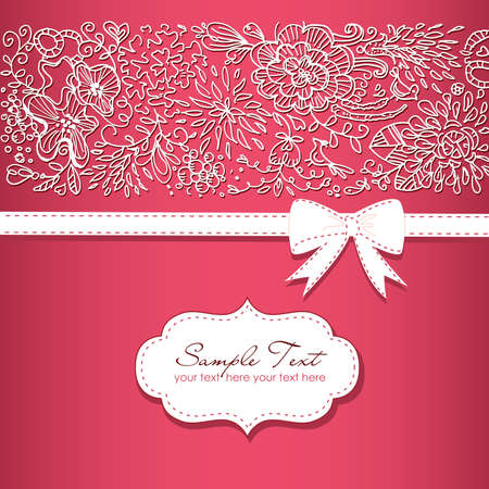photo album page: Beautiful floral background  and a bow
