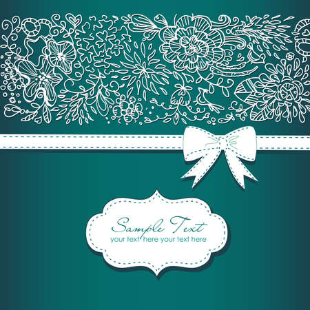 birthday invitation: Beautiful floral background and a bow