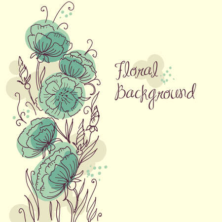turquoise swirl: Stylish floral background  Illustration