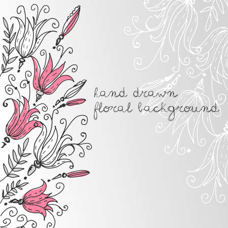 Hand drawn Floral greeting card  Vector