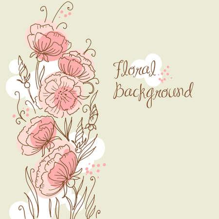 Main élégant, floral, fond établi Banque d'images - 15158494