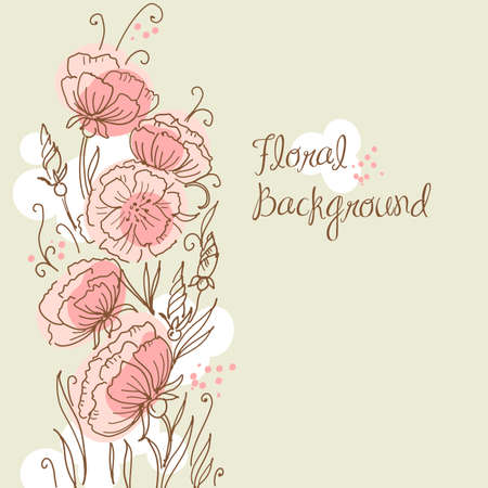 Stylish hand drawn floral background
