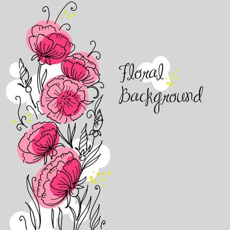 turquoise swirl: Stylish hand drawn floral background