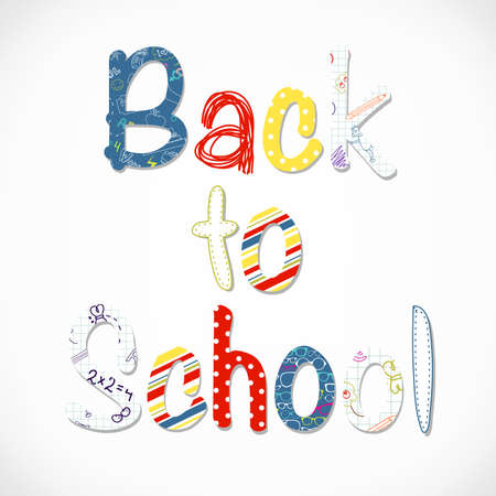 school class: Back to school lettering  Illustration