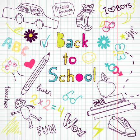 kinder garden: Back to school doodles  Illustration