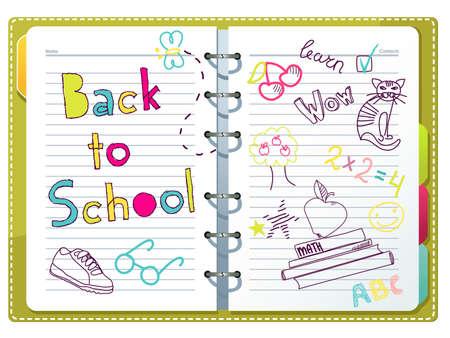 rekenmachine: Terug naar school, notebook met doodles