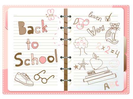 school desk: Back to school, notebook with doodles  Illustration