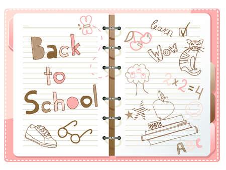 Terug naar school, notebook met doodles