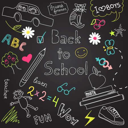 kinder: Back to school doodles  Illustration