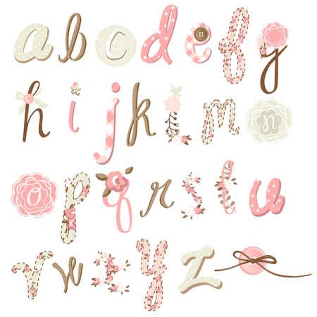 Unique vector flower font. Amazing hand drawn Alphabet.  Çizim