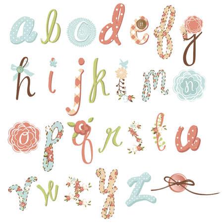 artwork: Unique vector flower font. Amazing hand drawn Alphabet.