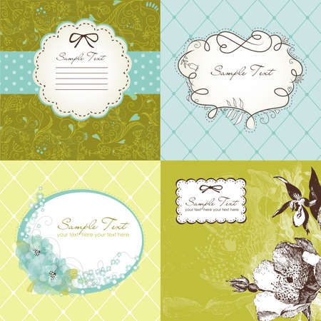 Set of cute floral frames Stock Vector - 15158883
