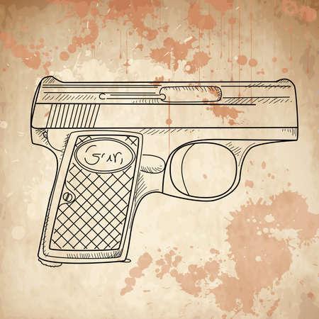 Vector illustratie van een pistool op de vintage achtergrond Stockfoto - 15158901