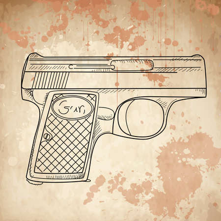 shots: Vector illustration of a gun on the vintage background