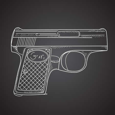Gun doodle on black background Vector