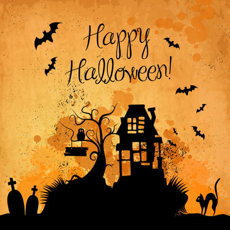 spooky tree: Halloween grunge vector background