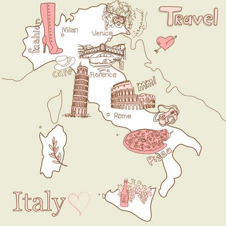 Kreatív Olaszország térkép, minden a legjobb turisztikai látványosságok Illusztráció