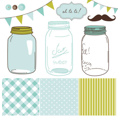 Glass Jars, frames and cute seamless backgrounds. Ideal for wedding invitations.  Çizim