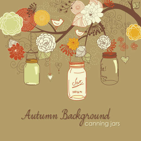 Floral Autumn background. Glass jars hanging from the brunch  Vector