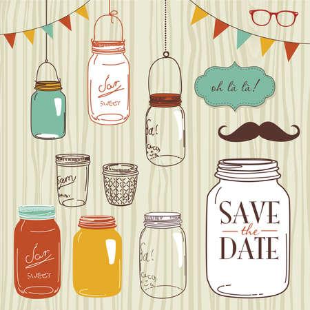frasco: Tarros de cristal, marcos y fondos incons�tiles lindos. Ideal para las invitaciones de la boda y la fecha invitaciones Vectores