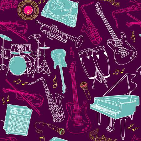 drum set: music seamless pattern