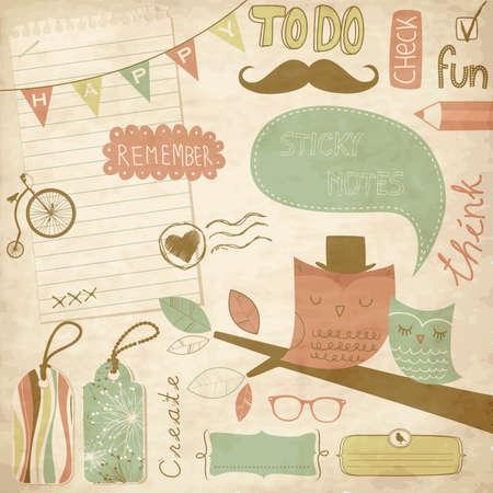 bigote: Elementos vintage del libro de recuerdos, notas adhesivas