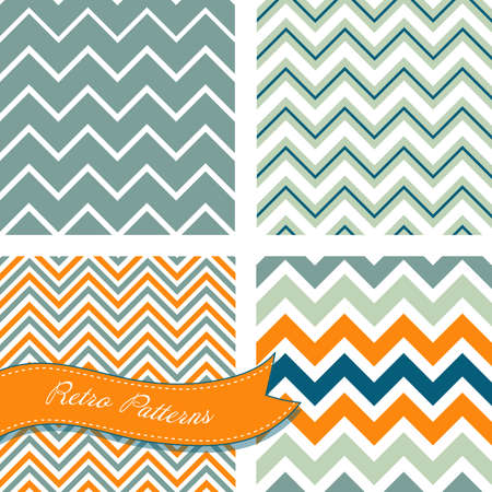 A set of seamless retro Zig zag patterns  Vector