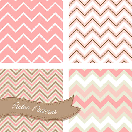flower card: A set of seamless retro Zig zag patterns