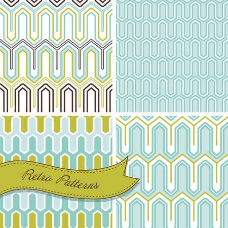 A set of seamless retro patterns. This stylish Mosaic can be used for wallpapers, pattern fills, web page background and surface textures Illustration